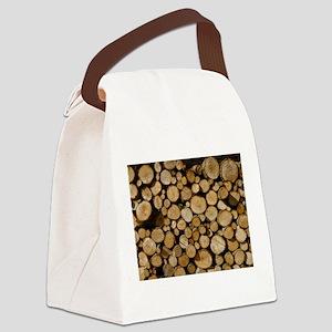 wood logs Canvas Lunch Bag