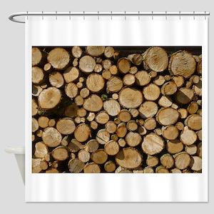 wood logs Shower Curtain