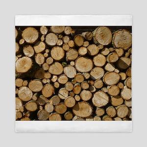 wood logs Queen Duvet