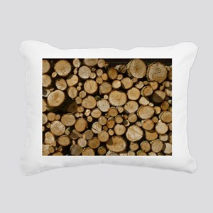 wood logs Rectangular Canvas Pillow