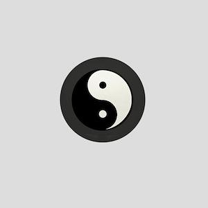 yin yang 5 gray Mini Button