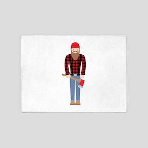 Lumberjack Logging Man Axe 5'x7'Area Rug