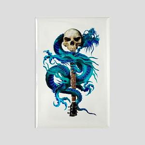 Blue Dragon Skull Rectangle Magnet