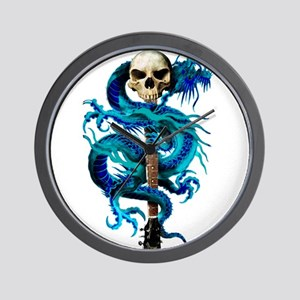 Blue Dragon Skull Wall Clock