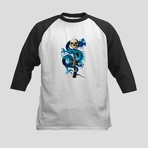 Blue Dragon Skull Kids Baseball Jersey