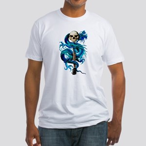 Blue Dragon Skull Fitted T-Shirt