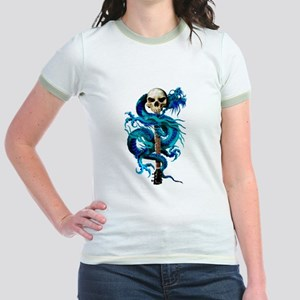 Blue Dragon Skull Jr. Ringer T-Shirt