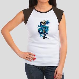 Blue Dragon Skull Women's Cap Sleeve T-Shirt