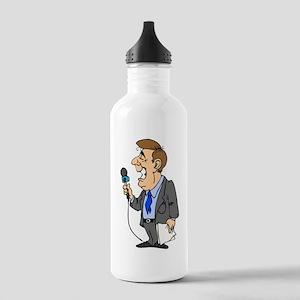 Cartoon Reporter Water Bottle