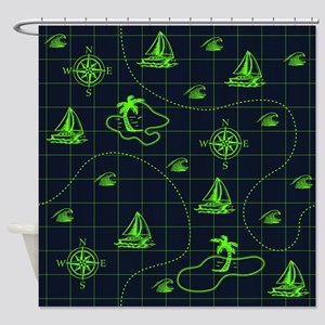 Neon Green and Navy Blue Nautical Map Shower Curta