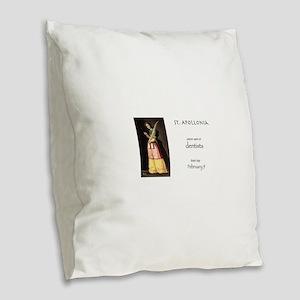 st. apollonia, patron saint of Burlap Throw Pillow