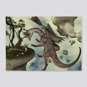 The fight, Dragon and dragon fighter 5'x7'Area Rug