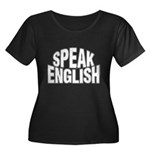 Speak English Women's Plus Size Scoop Neck Dark T-