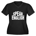Speak English Women's Plus Size V-Neck Dark T-Shir