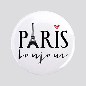 "Paris bonjour 3.5"" Button"