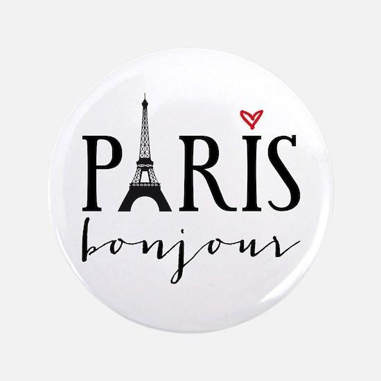"""Paris bonjour 3.5"""" Button"""