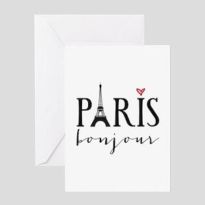 Paris bonjour Greeting Cards