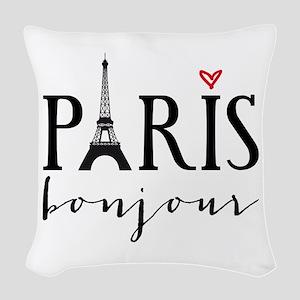 Paris bonjour Woven Throw Pillow