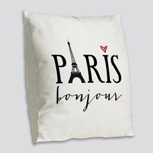 Paris bonjour Burlap Throw Pillow