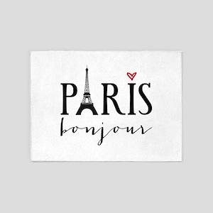 Paris bonjour 5'x7'Area Rug