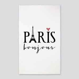 Paris bonjour Area Rug