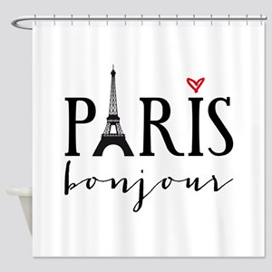 Paris bonjour Shower Curtain