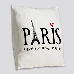 Paris mon amour Burlap Throw Pillow