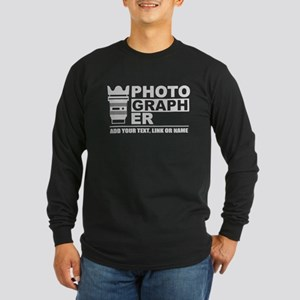Custom Photographer Long Sleeve Dark T-Shirt