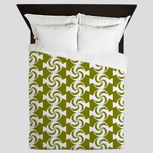 Olive and White Sweet Peppermint Candi Queen Duvet