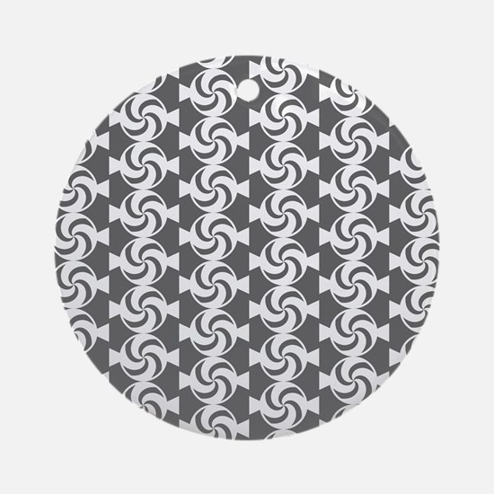 Gray and White Sweet Peppermint C Ornament (Round)