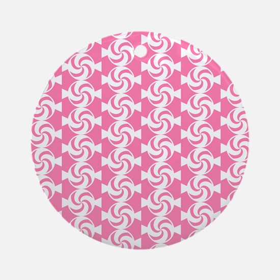 Pink and White Sweet Peppermint C Ornament (Round)