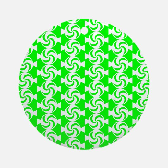 Lime and White Sweet Peppermint C Ornament (Round)