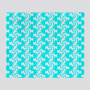 Aqua and White Sweet Peppermint Cand Throw Blanket