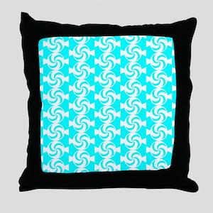 Aqua and White Sweet Peppermint Candi Throw Pillow