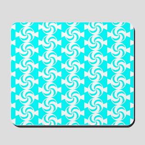 Aqua and White Sweet Peppermint Candies Mousepad