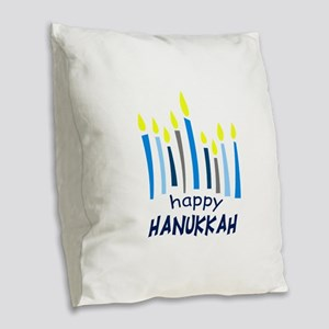HAPPY HANUKKAH Burlap Throw Pillow