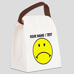 Custom Yellow Sad Face Canvas Lunch Bag