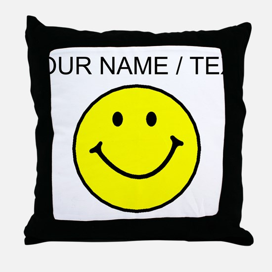 Custom Yellow Smiley Face Throw Pillow