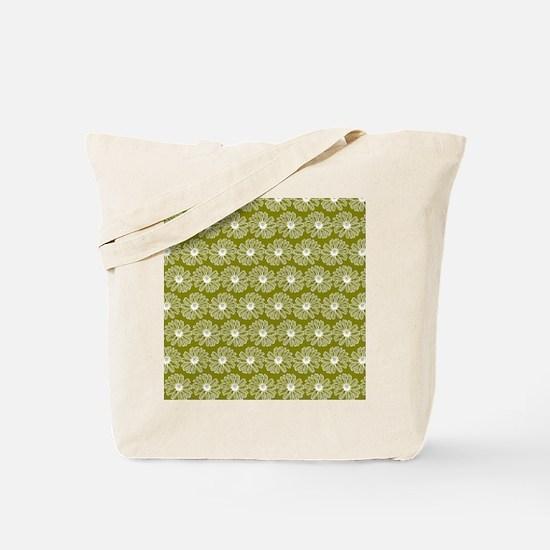 Olive Green Gerbara Daisy Pattern Tote Bag