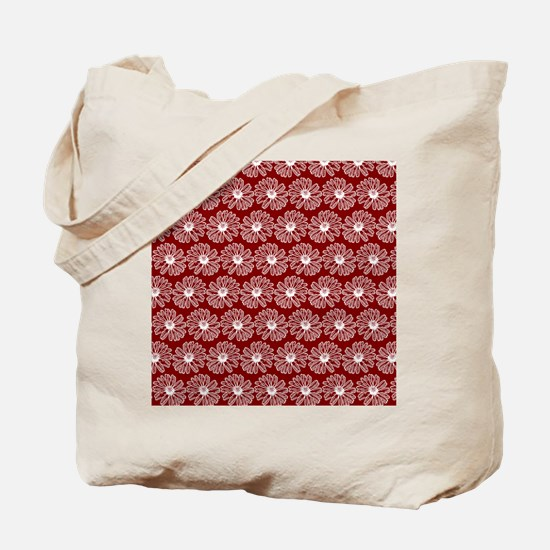 Red and White Gerbara Daisy Pattern Tote Bag