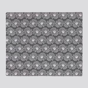 Gray and White Gerbara Daisy Pattern Throw Blanket