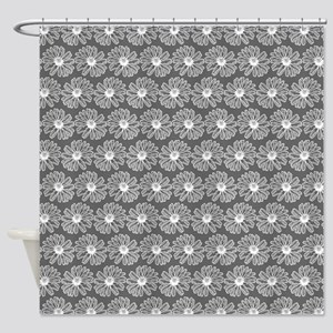 Gray and White Gerbara Daisy Patter Shower Curtain