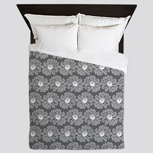 Gray and White Gerbara Daisy Pattern Queen Duvet