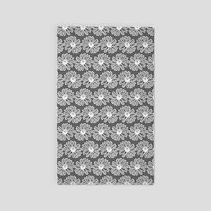 Gray and White Gerbara Daisy Pattern Area Rug