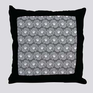 Gray and White Gerbara Daisy Pattern Throw Pillow