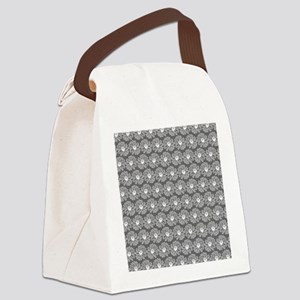 Gray and White Gerbara Daisy Patt Canvas Lunch Bag