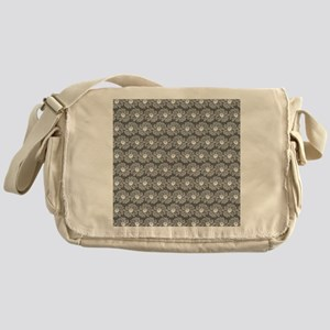 Gray and White Gerbara Daisy Pattern Messenger Bag