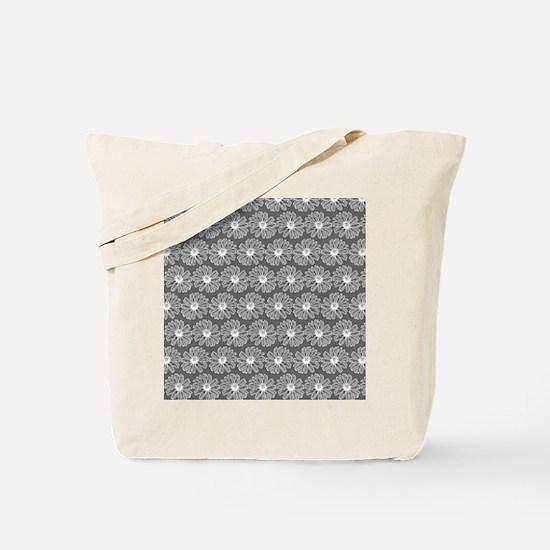 Gray and White Gerbara Daisy Pattern Tote Bag