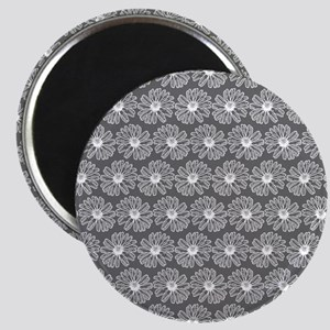 Gray and White Gerbara Daisy Pattern Magnet