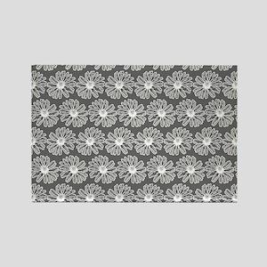 Gray and White Gerbara Daisy Patt Rectangle Magnet